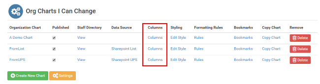 Accessing the columns page