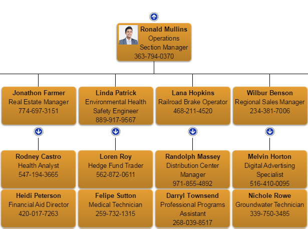 Chart with telephone, job title and name