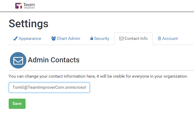 Setting the contact information for the org chart